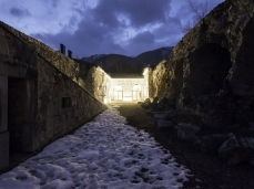 monte ricco fort -  snowy inner courtyard, by night - photo giacomo de donà