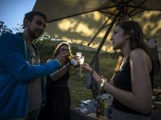"""the inner outside (bivouacs)"" - toasting with birra dolomiti (dolomiti beer), biasotto wine, and nonino grappa (grape spirit) photo by giacomo de donà"
