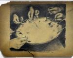 manuele cerutti, Il distacco, matita su cartone, 14,5 x 23,5 cm, 2011
