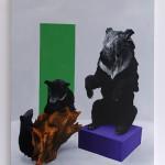diorama (asiatic black bear), Olio su tela, 80x100 cm, 2011- foto a. montresor