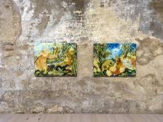 Sophie Westerlind_Diana e Atteone, 2019, olio su lino, 85x100cm;  Il Baccanale degli Andrii, 2019, olio su lino, 85x100cm_Foto G. De Donà