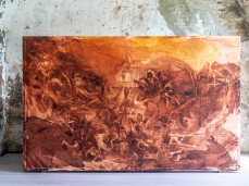 Barbara De Vivi, Giudizio (dalla serie Grandi Battaglie), olio su tela, 347 x 214 cm, 2016. Opera inserita in Brain-tooling. Foto Giacomo De Donà