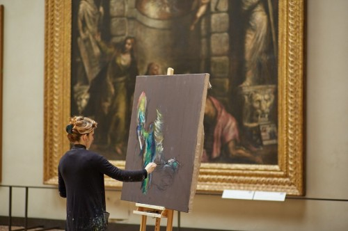 Paola Angelini alle Gallerie dell'Accademia, sulla Pietà di Tiziano - Foto Giovanni Cecchinato